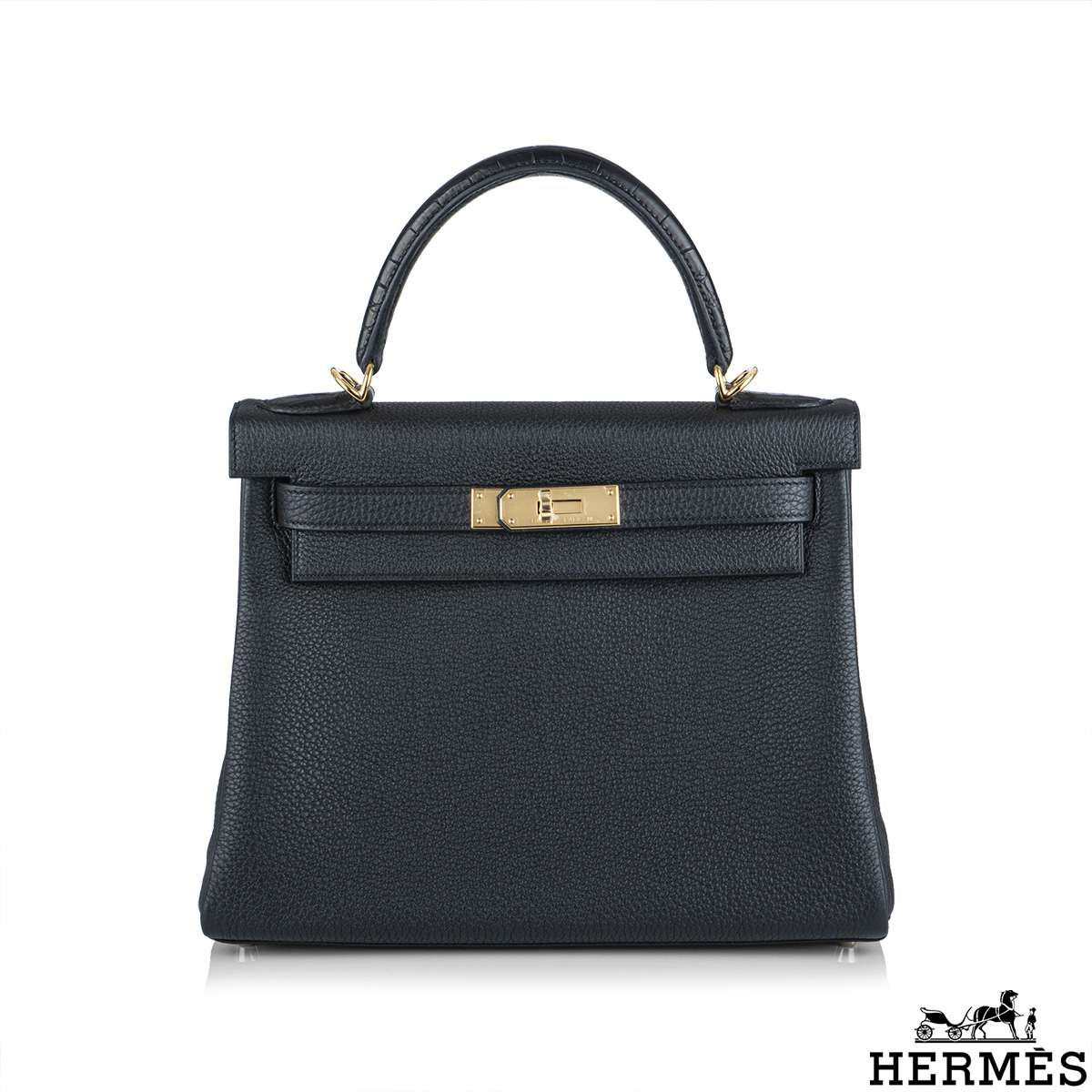 Hermès Kelly Touch 28 cm Noir Matte Alligator and Noir Togo GHW